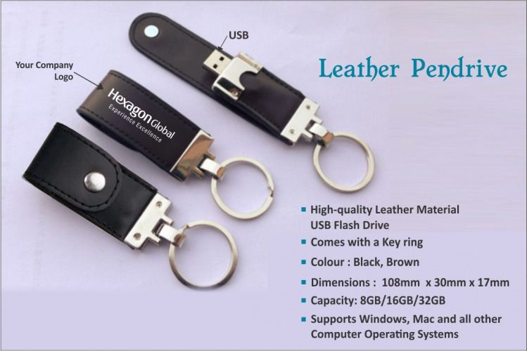 Leather Keychain Pen Drive